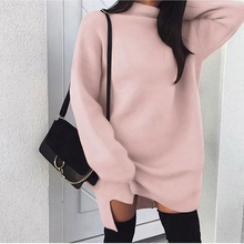 Winter Long Sleeve Women Sweater Dress Fashion Turtleneck Knitted Dresses Casual Plus Size Mini