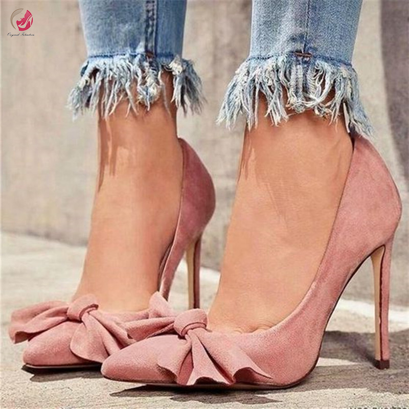 Original Intention New Sweety Pink Bow Knot Pumps Woman Chic Elegant Lady Shoes Party Dress Club Sexy Thin High Heels Plus Size
