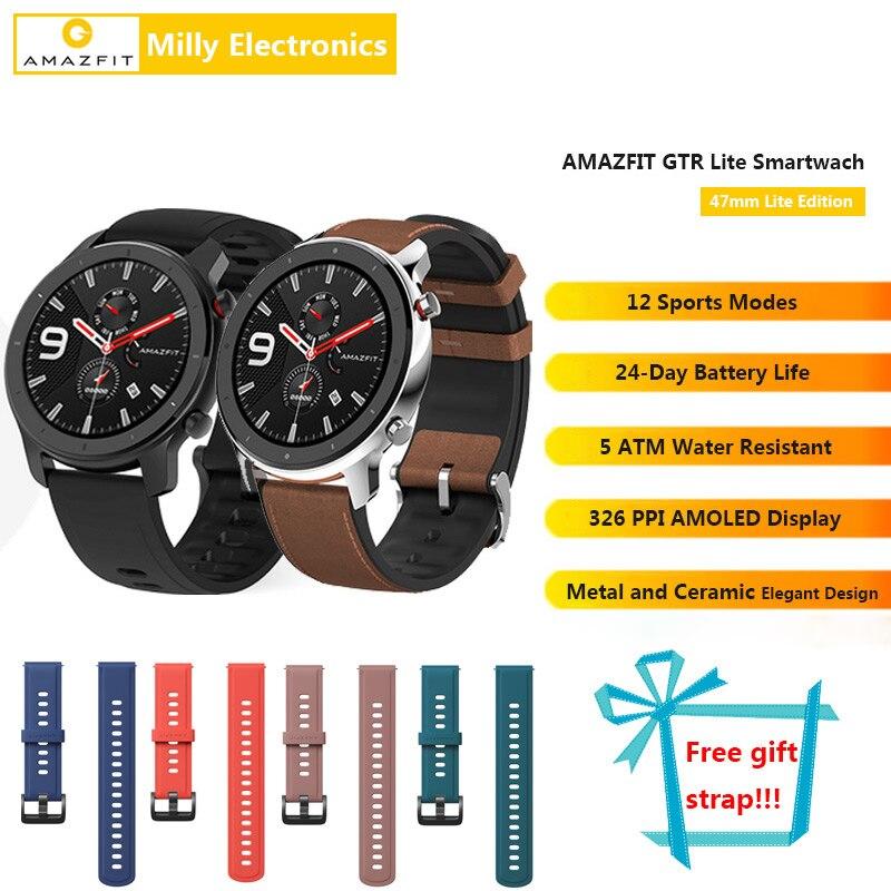 В наличии Amazfit GTR Lite 47 мм Смарт часы, глобальная версия, батарея 24 дня с 5ATM водонепроницаемым AMOLED экраном для Android IOS