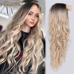 Vigorous Long Wavy Wigs Ombre Platinum Blon Natural Hair Part Synthetic Wigs for Women Glueless Cosplay Heat Resistant Party Wig