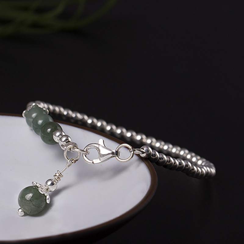 Jade Beads Bracelet Hand Accessories Women Bracelet With 925 Sterling Silver Beads Ball Crystals Jewelry Armband Mannen