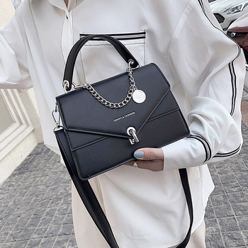 NOVEDAD DE VERANO 2020, bolso cuadrado pequeño para chicas, bolso con cadenas, bolso informal para mujeres, bolso de hombro de moda, bolsa con cierre, bolso Diagonal negro para mujeres