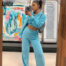 Auyiufar Women Casual 2 Piece Sets Hooded Long Sleeve Crop Top And Straight Pants Solid Bule Fashion Streetwear Matching