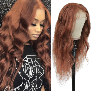Image 1 - Brown Auburn Lace Front Human Hair Wigs Body Wave 13x4 Lace Wigs For Black Women Pre Plucked Brazilian Hair Wigs Remy Wig 150%
