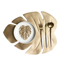 Christmas Simulation Plant Placemat for Kitchen Table Mat Palm Gold Leaf PVC Decorative Pad Coasters Home Decor