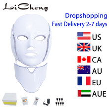 Licheng 7 Kleuren Elektrische Led Gezichtsmasker Met Hals Machine Beauty Photon Therapie Anti Acne Draai Whitening Instrument(China)