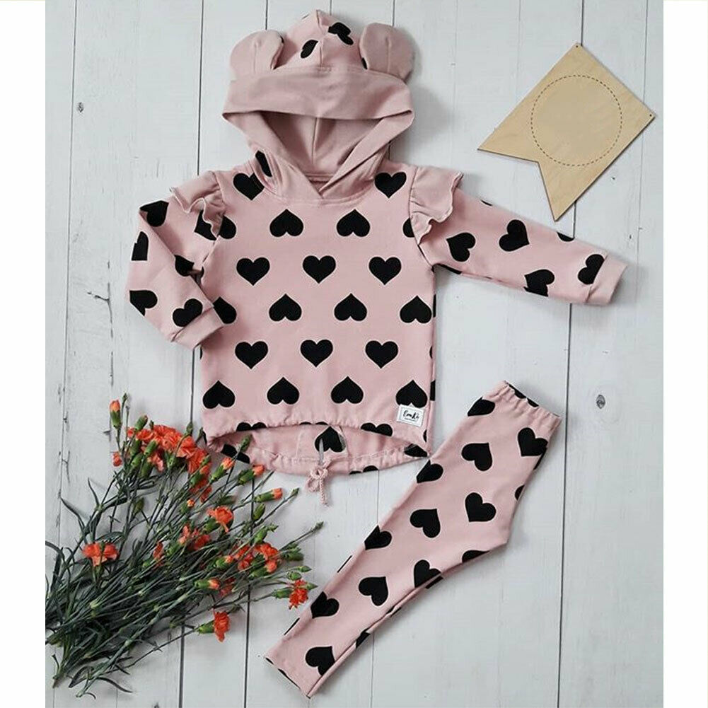 Spring Autumn Toddler Kids Baby Girl Clothes Set Printed Heart Hooded Hoodies Top Ear Pullover + Trousers Pants Clothes 1-5Y