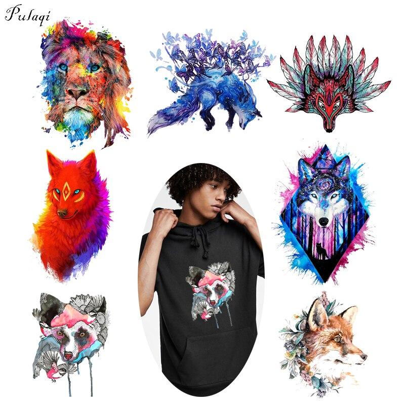 Pulaqi-transfert de chaleur en vinyle, roi des animaux, sur tissu, sur fer à repasser, Punk, Rock Style renard, pour T-shirt, accessoires F