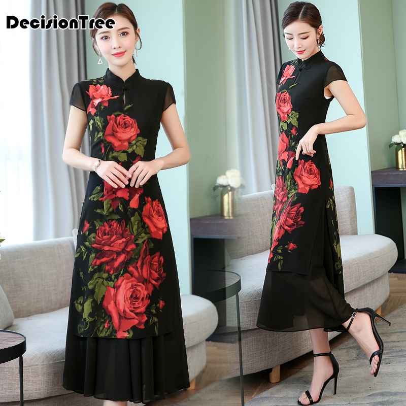 2019 Cheongsam Ao Dai Dress Vietnam Clothing Aodai Vietnam Floral Print Dress Qi Pao Women Oriental Vintage Casual Retro