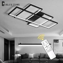 שחור ולבן מודרני LED נברשות סלון חדר שינה בית גופי Led תקרת נברשת מקורה תאורה Lampara דה techo