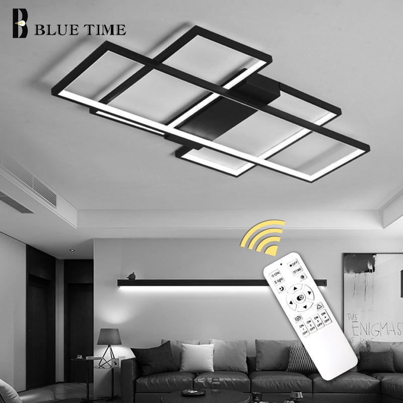 Lustres de LED modernes de corps noir et blanc pour des appareils à la maison de chambre à coucher de salon LED lustre de plafond éclairage Lampara de techo