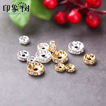 1Pcs Rondelles AAAA Crystal Copper Wheels Spacer Beads Loose Golden Silver Plated Rhinestone Beads DIY Jewelry Making 768(China)