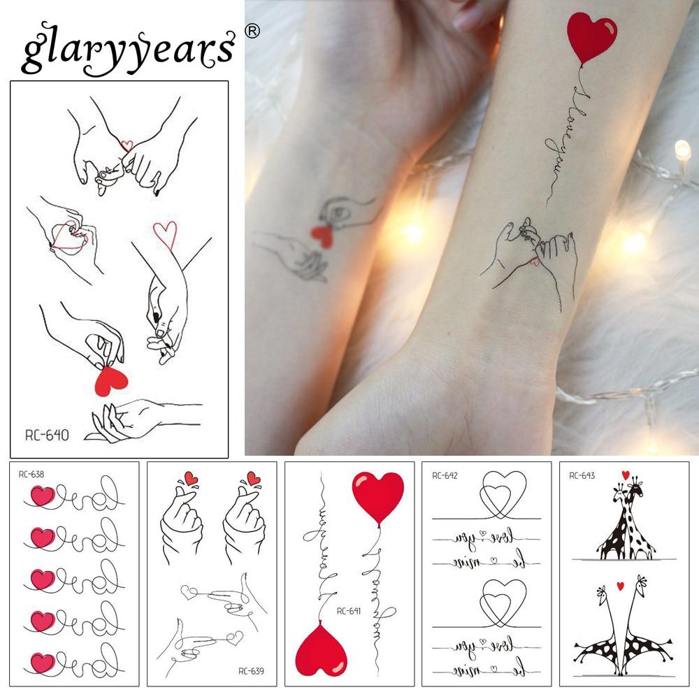 Glaryyears 1 Sheet Temporary Tattoo Sticker Cats Pattern Fake Flash Waterproof  Fashion Small Body Art Woman Valentine's Day
