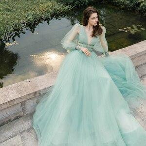 Image 2 - Verngo 2021 Korea Tulle A Line Long Prom Dress Puff Sleeve V Neck Floor Length Party Gowns Lady Formal Dress Vestido De Gala