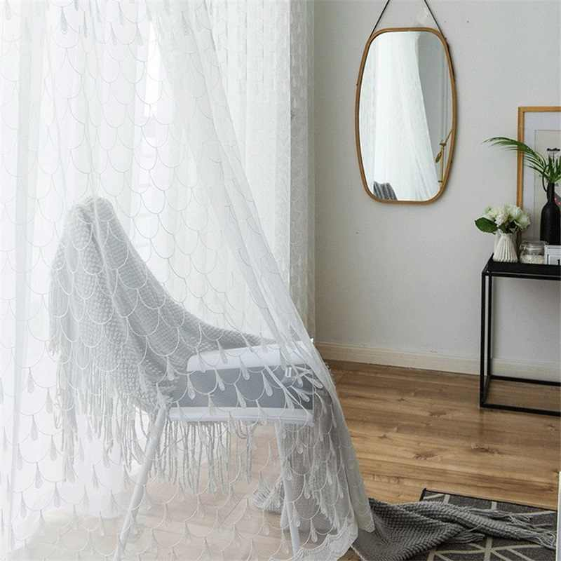 Modern Simple Fish Scale Shape Embroidery Window Screen For Living Room Bedroom Kitchen White Tulle Ready Made Curtain M145#4