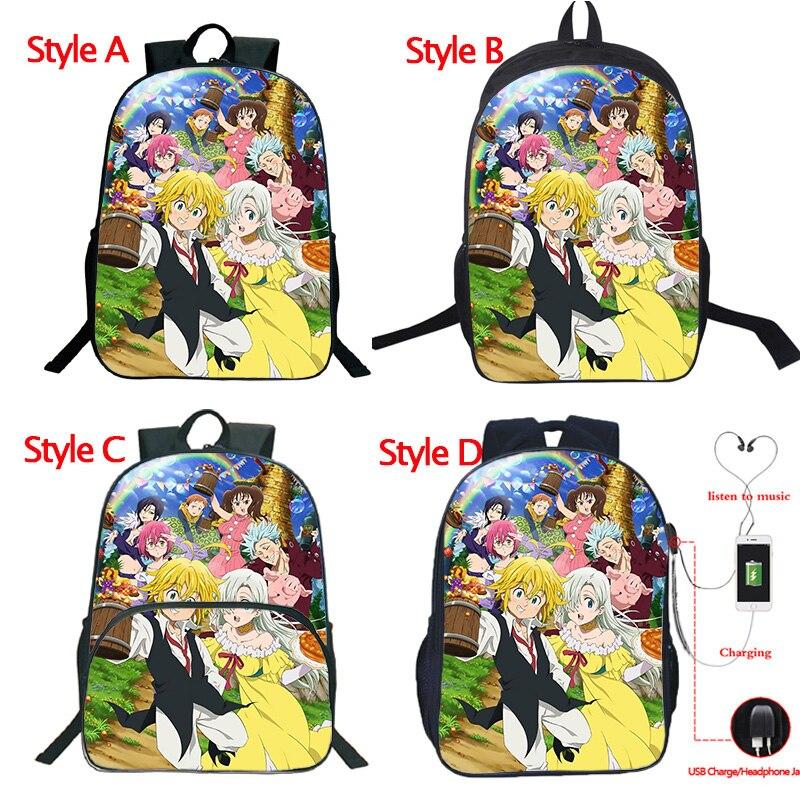 Alta qualidade os sete pecados mortais mochila carga usb mochila estudantes sacos de escola moda de volta à escola