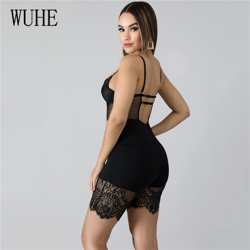 H1b77ca84a8004a52865ca1b5118c28c4a - WUHE Lace Patchwork Sexy Spaghetti Strap Jumpsuits Women Off Shoulder Sleeveless Elegant Bodycon Bandage Party Short Playsuits