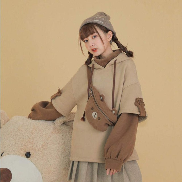 harajuku aesthetic bear anime hoodie women korean kawaii crewneck long sleeve oversized fall winter clothes kpop streetwear tops 3