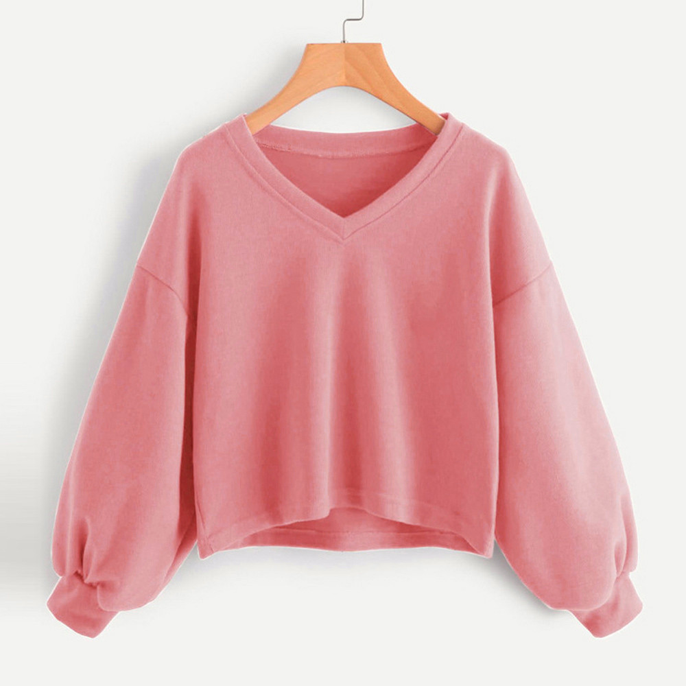 Jaycosin Fashion Women Solid Casual V-neck Lantern Sleeve Sweatshirt Casual Cool Chic New Look Hooded Pullover Tops Blouse 5