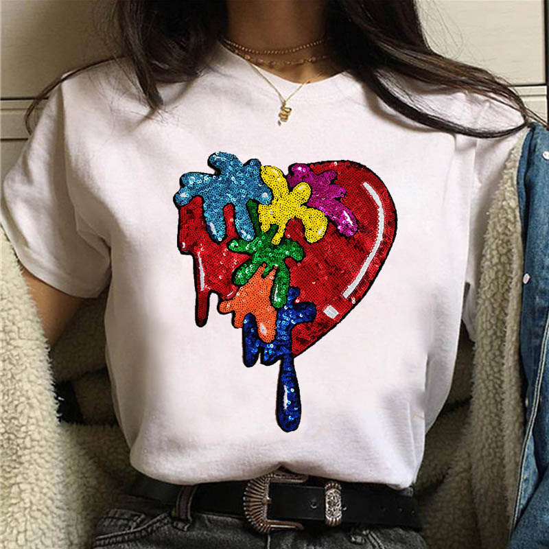 2020 New Brand Spring Summer Fashion Loose Rad Lips Sexy Tee Shirt Sequins Letter Red Heart T-shirt Girl Tee Leisure Top Code