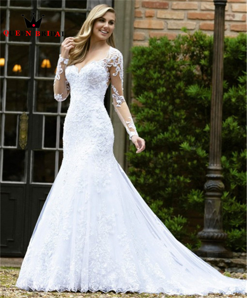 2020 New Design Wedding Dresses Mermaid Long Sleeve Tulle Lace Crystal Beading Sexy Luxury Wedding Gowns Custom Made NO03