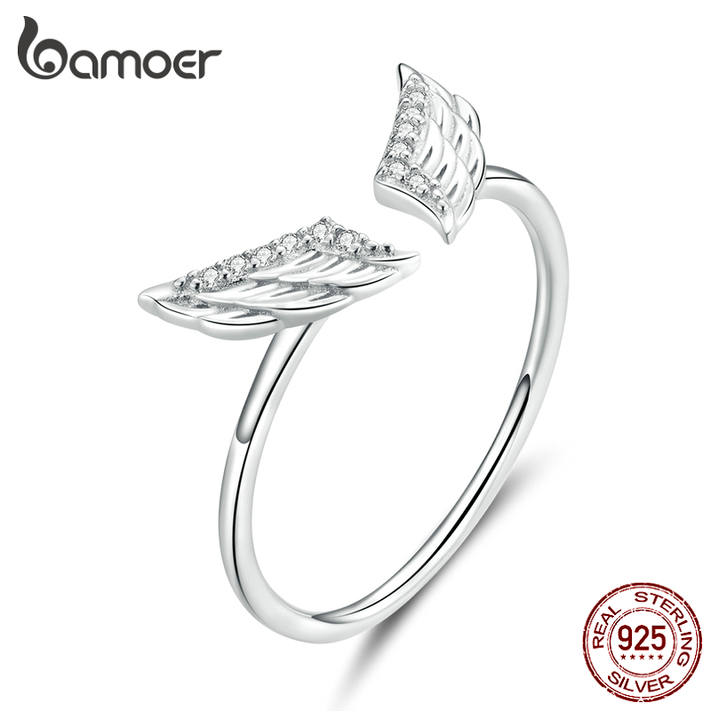 Bamoer 925 Sterling Silver Flying Wings Open Finger Rings For Women Adjustable Free Size Original Design Jewelry Bijoux BSR108