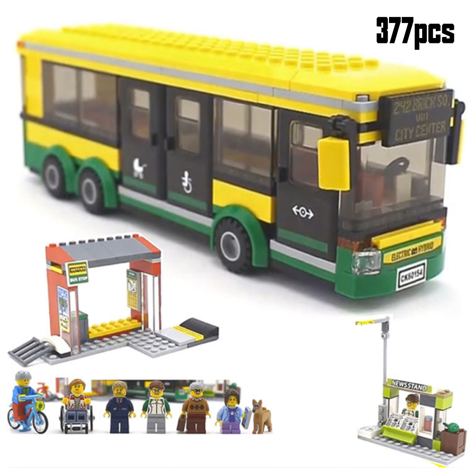 02078 60154 Compatible Lepining City Town Bus Station Classic Building Blocks 377pcs Newsstand Model Bricks Toys