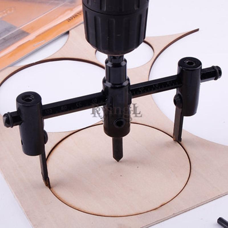 30mm-200mm Woodworking Opener Adjust Wood Circle Hole Saw Cutter Tool Kit Set Cordless Drill Bit