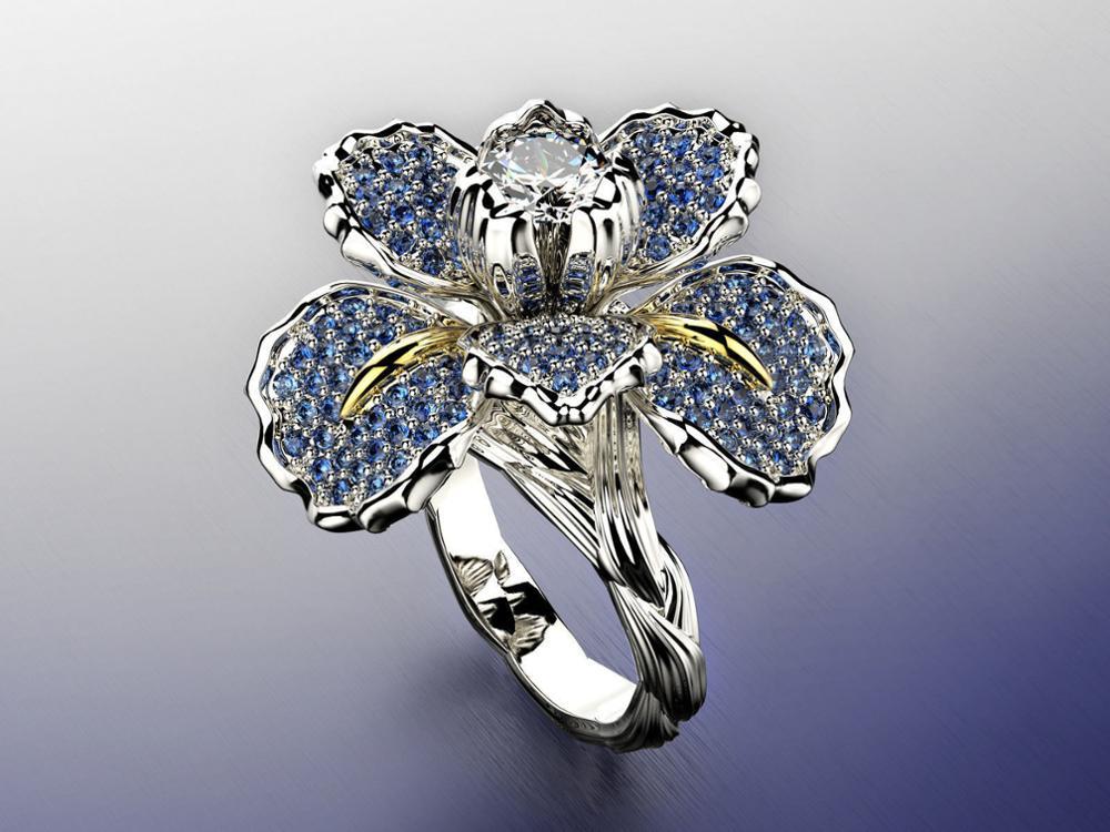 Luxruy Rhinestone Encrusted Two-color Ring Blue Iris Rhinestone Flower Engagement Cocktail Rings