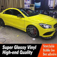 Newest PVC material car vinyl wrap high glossy yellow color auto skin color change decorative sticker Crystal series glossy film