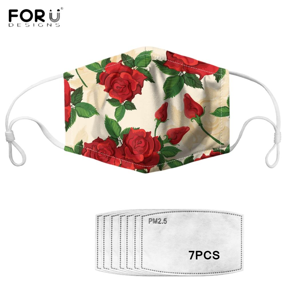 FORUDESIGNS Red Rose Flower Floral Printing Women Mouth Mask Reusable Face Masks With 7Pcs Filter Non-disposable Anti-dust Mask