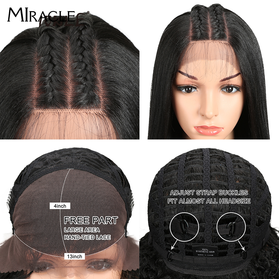 """Image 5 - Miracle Hair Ombre 26""""Inch Long Straight Synthetic Hair Lace Front Wigs For Black Women Yaki Lace Wigs With Baby Hair Free Part-in Synthetic Lace Wigs from Hair Extensions & Wigs"""