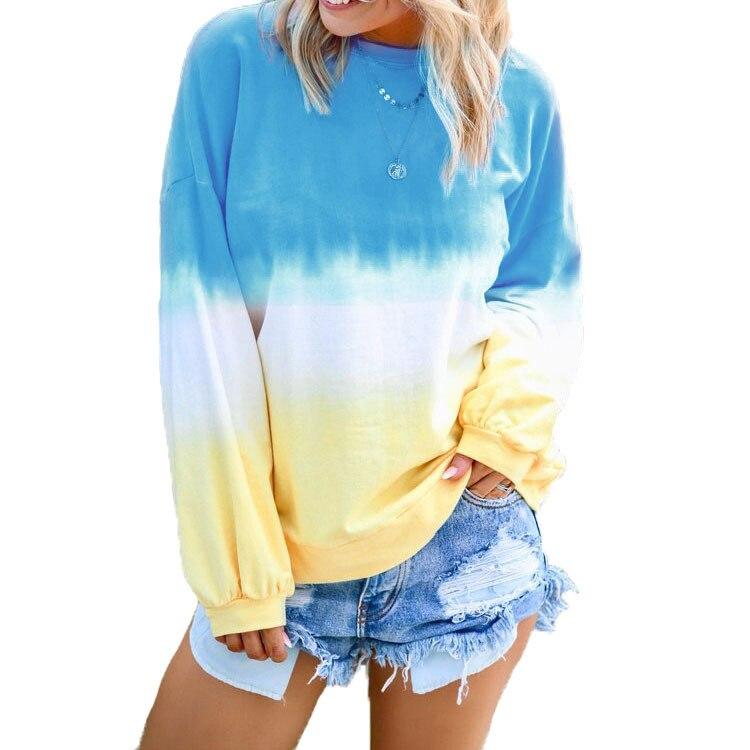 2019 Winter New Plus Size Women Sweatshirts Tie-dye Printing Hoodies Tops Long Sleeve O Neck Clothes S -3XL 4XL 5XL