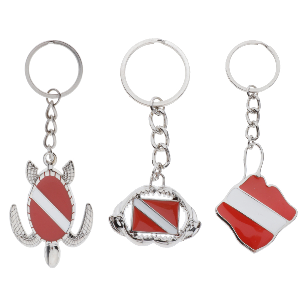 Scuba Diving Theme Keychain Dive Flag Sea Turtle Keyring Keys Charm Present Key Chain For Water Sports