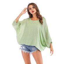 Breathable Loose Top Solid V-neck Casual Women Summer T-shirt Wide Long Bat Sleevet-shirt Feamle