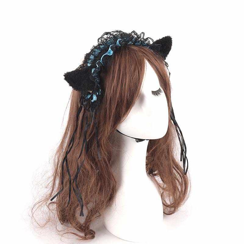 Women Lolita Cat Ear Headband Sweet Halloween Cosplay Headwear Hair Accessories