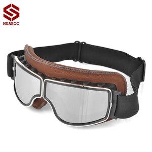 Image 2 - Motocross Goggles Vintage Pilot Roller Helm Brillen Outdoor Steampunk Motorrad Brille für Motorrad Dirt Bike