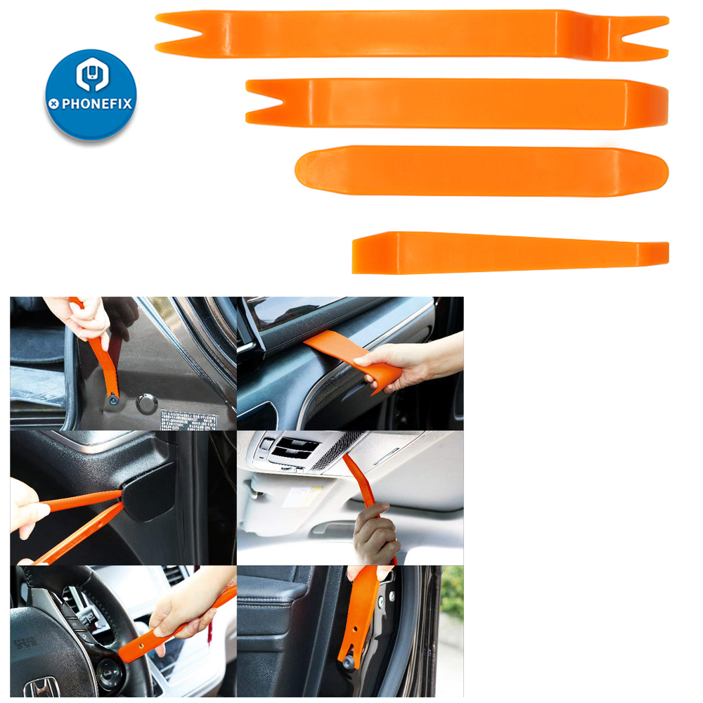 PHONEFIX 4 adet araba sökme aracı kiti araba iç Pry aracı kiti kapı klip Trim paneli pano temizleme aracı araba radyo yükleyici