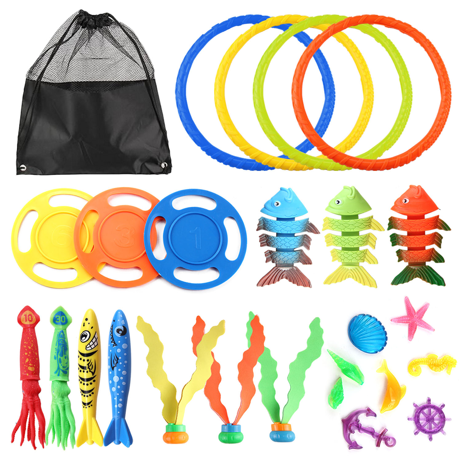 25PCS Funny Kids Diving Toys Set Underwater Water Play Toys With Storage Bag For Boys Girls Summer Games Swimming Pool Party