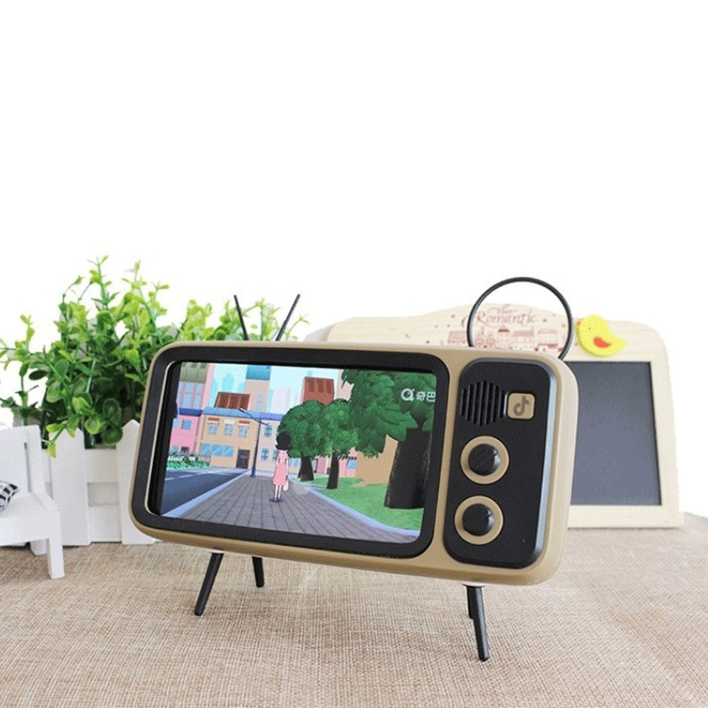 Portable Retro TV Desktop Mobile Phone Holder Stand Mount Bracket Phone Holder Retro TV Appearance for 4.7-6.5 Inch Phone