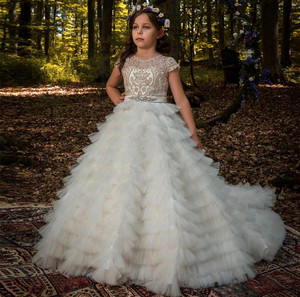 Ivory White Ball Gown Flower Girls Dresses Puffy Tulle Lace First Communion Dress for Special Occasion Size 2-16Y