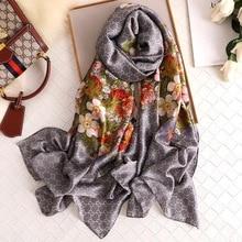 2020 new style women Popular beach muffler china silk fashion Autumn and winter good flower