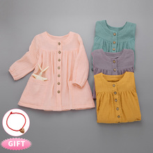 Girls Dress Long Sleeve Solid Color Toddler Girl Dresses Children 2019 Girls Autumn Kids Dress for Girl Cute Cardigan Dress 2-6T
