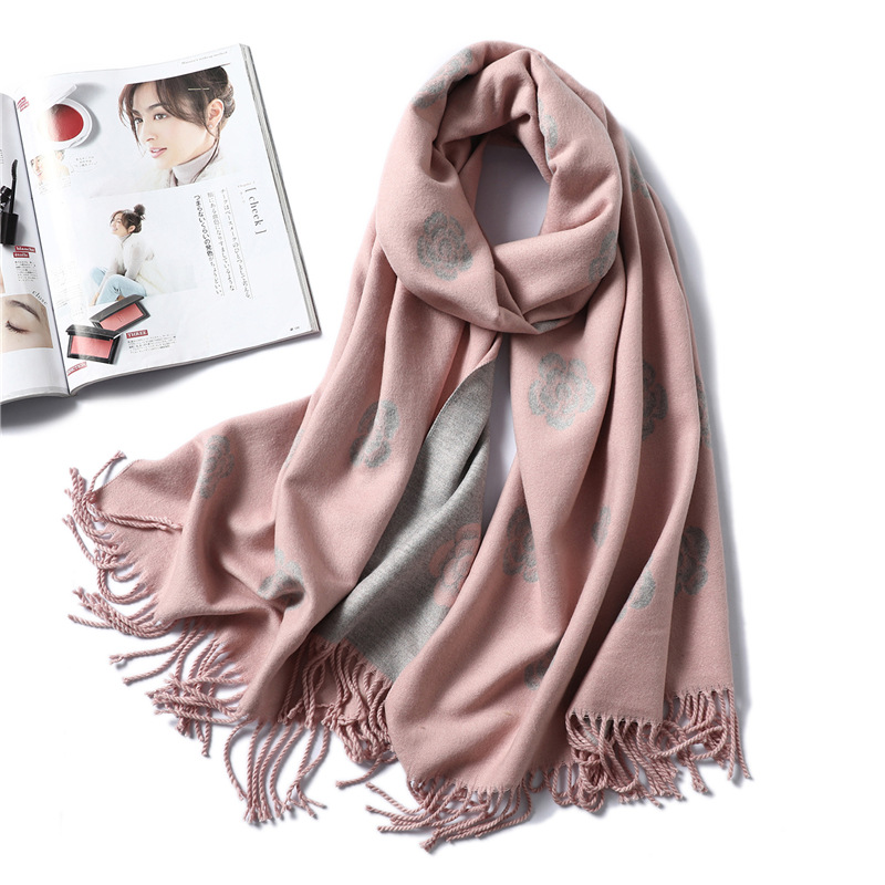 Brand Designer Winter Scarf For Women Classic Floral Print Shawls And Wrap Thick Warm Pashmina Fashion Tassels Cashmere Scarves