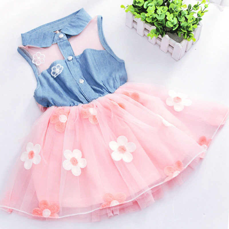 Vestido de princesa, vestido de verão com flores de renda para meninas; vestido cowboy; sem mangas; mini vestido de chiffon; roupas infantis