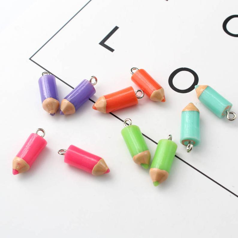 80PCS Cute Pencil Charms 3D Resin Charm Jewelry Earring Charms Jewelry Supplies DIY