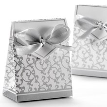 50x Boite a Dragee Wedding Decoration Accessory Table Baptism Flower Fete Argente gift box silver fancy gift boxes цена