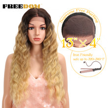 FREEDOM Free Parting Synthetic Lace Front Wig 28 inch Ombre Blond Wig For Black Women Fashion Wig American Hot Sale Fantezi hair(China)