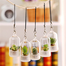 2pcs Mini Succulent Cactus Plant Keychain Random Green Fleshy Plant Pendant Keyring Charm with Glass Cover Craft Gifts for Women