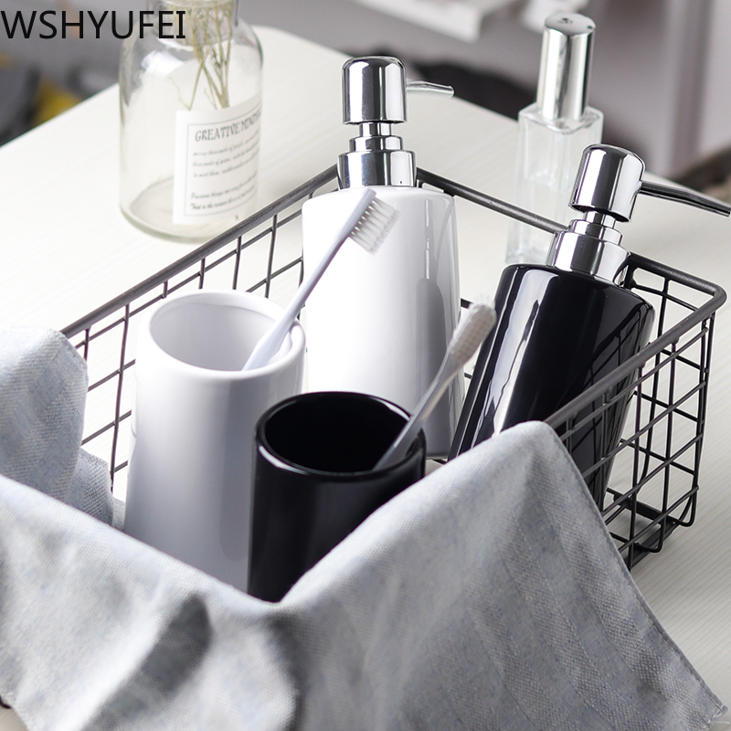 Fashion Black and white ceramic Mouth Cup Toothbrush Holder Lotion Bottle Toothpaste Bamboo Storage Board Nordic Bathroom Set image